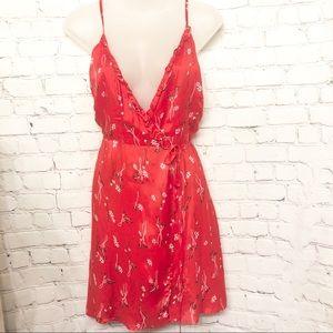 NWT BARDOT RED FLORAL SPAGHETTI STRAP WRAP DRESS